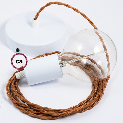 Single Pendant, suspended lamp with Whiskey Rayon textile cable TM22