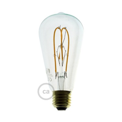 LED-Glühbirne transparent - Edison ST64 Curved Doppelluping Filament - 5W E27 dimmbar 2200k