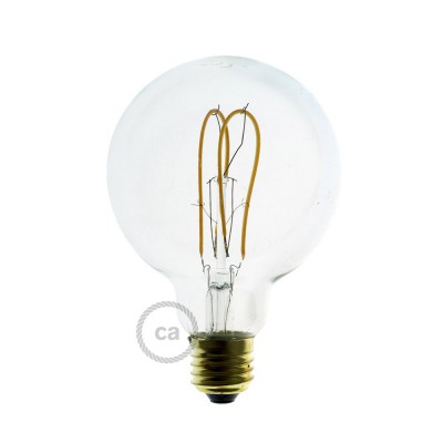 LED-Glühbirne transparent – Globo G95 Curved Doppelluping Filament - 5W E27 dimmbar 2200K