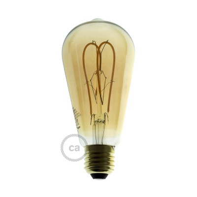 LED-Glühbirne gold - Edison ST64 Curved Doppelluping Filament - 5W E27 dimmbar 2000K