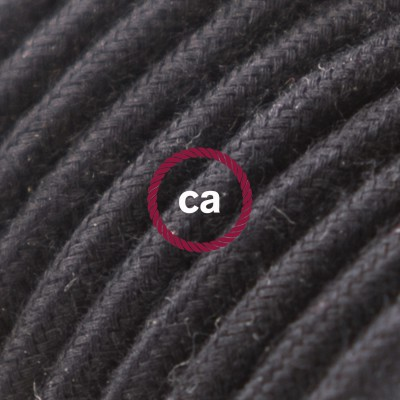Round Electric Cable covered by Cotton solid color fabric RC04 Black