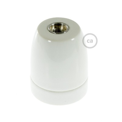 White Porcelain Lampholder E27 fitting with Strain Relief Clamp
