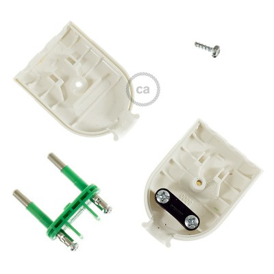 Two-Pole White Plug 10A (small) – IMQ – Made in Italy