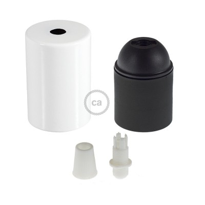 E27 Cylinder lamp holder Kit with white cap + white cable retainer