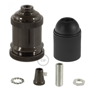 Lamp Holder kit E27 in vintage aluminium black pearl finish provided with metal strain relief clamp.