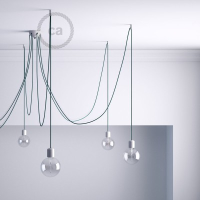 Decentralizer, White ceiling hook and stop for fabric cable