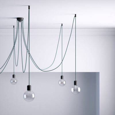 Decentralizer, Black ceiling hook and stop for fabric cable