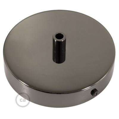 Black Pearl 120 mm ceiling rose kit with cylindrical black pearl cable retainer.