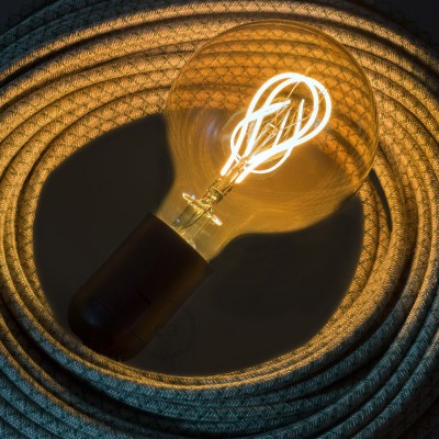 LED-Glühbirne gold - Globo G95 Curved Doppelluping Filament - 5W E27 dimmbar 2000K