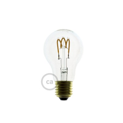 LED-Glühbirne transparent - Tropfen A60 Curved Spirale Filament - 3W E27 dimmbar 2200K