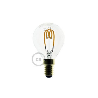 LED-Glühbirne transparent - Kugel G45 Curved Spirale Filament - 3W E14 dimmbar 2200K