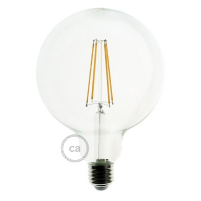 LED Transparent Light Bulb - Globe G95 Long Filament - 7.5W E27 Decorative Vintage Dimmable 2200K