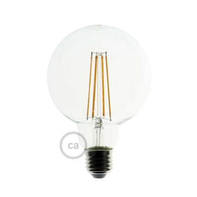LED Transparent Light Bulb - Globe G125 Long Filament - 7.5W E27 Decorative Vintage Dimmable 2200K