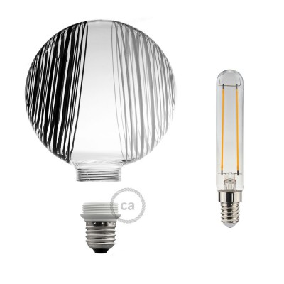 Modular LED Decorative Light bulb White with black and white circles 5W E27 Dimmable 2700K