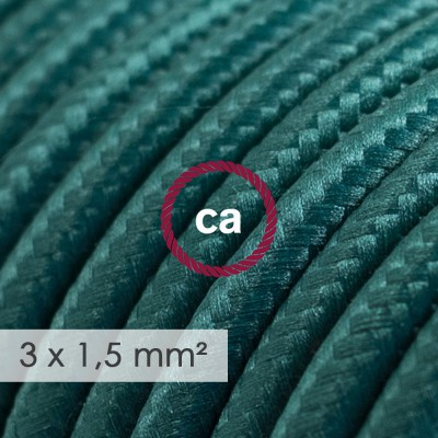 Large section electric cable 3x1,50 round - covered by rayon Dark Green RM21