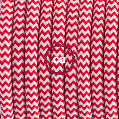 White Pendant for Koziol lampshade, suspended lamp with ZigZag Red textile cable RZ09