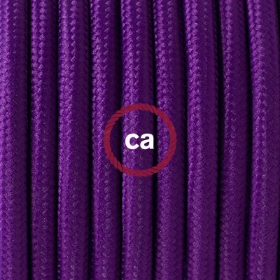 Round Electric Cable covered by Rayon solid color fabric RM14 Violet